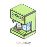 процесс подготовки фото машины выдержки espresso кофе длинний Иллюстрация вектора равновеликая Стоковые Фотографии RF