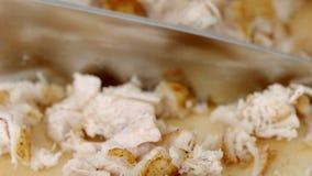 Процесс прерывать мясо цыпленка в замедленном движении акции видеоматериалы