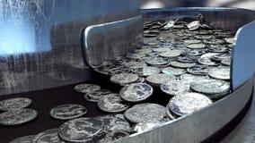 Процесс продукции монеток, 25 центов принципиальная схема промышленная Оборудование и macine фабрики Реалистическая анимация 4K сток-видео