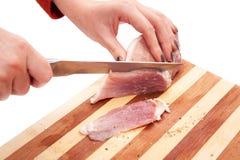 процесс свинины вырезывания Стоковое фото RF