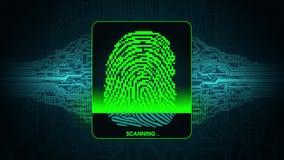 Процесс скеннирования отпечатка пальцев - цифровой системы безопасности, результата отказанного доступа развертки отпечатка пальц иллюстрация штока