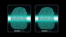 Процесс скеннирования отпечатка пальцев - цифровой системы безопасности, результата 2 - достигните позволено и отказанный, штейн  иллюстрация штока