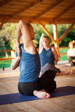 Процесс тренировки йоги Стоковая Фотография