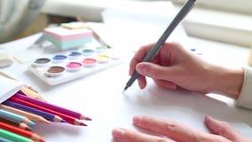 Процесс чертежа, конец-вверх иллюстрация штока