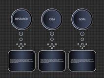 Процесс Infographic постепенный 3 деталей или вариантов, шаблона Блок-схема знамени дела вектора или схема информации иллюстрация вектора