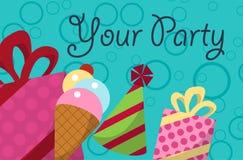 Прочешите ваша партия с подарками, воздушными шарами, мороженым и шляпой для дизайна вектор Стоковое Изображение RF