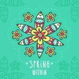 Прочешите предпосылка с цветком нарисованным рукой в этническом стиле Стоковое фото RF