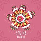 Прочешите предпосылка с цветком нарисованным рукой в этническом стиле Стоковая Фотография RF