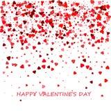 прочешите сердца дня счастливые любя Валентайн s 2 Романтичный состав с confetti сердец Красивая предпосылка с сердцами на белизн Стоковое фото RF