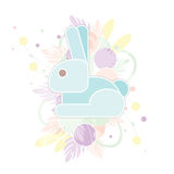 Прочешите счастливая пасха с абстрактным кроликом в пастельных цветах Смешной голубой зайчик в флористической предпосылке иллюстрация штока