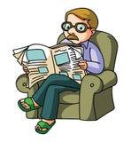 прочитанная газета человека иллюстрация вектора