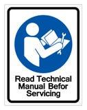 Прочитанное техническое руководство перед обслуживать знак символа, иллюстрацию вектора, изолят на белом ярлыке предпосылки EPS10 иллюстрация вектора