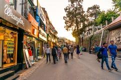 Прошлый людей кочуя клеймило выставочные залы на дороге Shimla мола стоковые фотографии rf