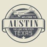 Проштемпелюйте или бирка с гостеприимсвом самолета и текста к Техасу, Остину бесплатная иллюстрация