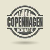Проштемпелюйте или ярлык с текстом Копенгагеном, Данией внутрь иллюстрация штока