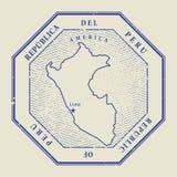 Проштемпелюйте с именем и картой Перу иллюстрация вектора