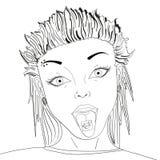 Проштемпелюйте с лекарством LSD на иллюстрации вектора искусства шипучки языка ретро Кислота наркотическая Предмет на белой предп Стоковые Фото