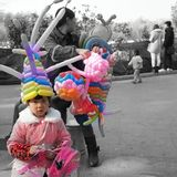 Продавец воздушного шара в фарфоре Стоковая Фотография