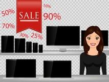 Продавец на супермаркете, продавая компьютер, smartphone, компьтер-книжка, таблетка Приборы технологии продаж бесплатная иллюстрация