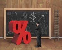 Продавец смотря красный знак процента с делом doodles bl Стоковое фото RF