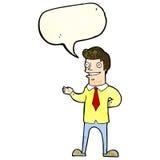 продавец шаржа с пузырем речи иллюстрация штока