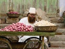 Продавцы улицы овощей в Индии Стоковые Фотографии RF
