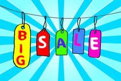 Продажа бирки Doodle большая Стоковые Фото