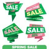 Продажа весны Стикер шаблона значка знамени ценника ярлыка продажи Стоковое Изображение