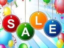 Продажа детей показывает малышей дешево и скидки иллюстрация вектора