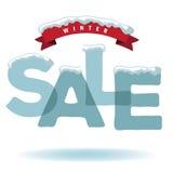Продажа зимы с снегом и лентой Стоковые Фото