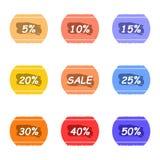 Продажа и процент срывают стикер с комплектом ярлыка чернил Стоковые Изображения RF