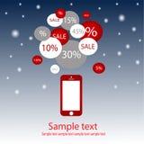 Продажа мобильного телефона с предпосылкой Нового Года Стоковые Фото