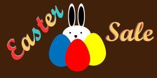 Продажа пасхи с яичками и кроликом, продажей праздника, плоским дизайном Стоковое Изображение RF