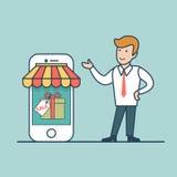 Продажа покупок линейной плоской покупки выставки человека онлайн conc иллюстрация вектора