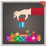 Продажа покупок иллюстрации вектора ATM кредита карточки установленная Стоковые Изображения RF
