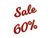 Продажа 60 процентов уценивает каллиграфическую представленную 3D иллюстрацию текста красного цвета Стоковая Фотография
