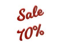 Продажа 70 процентов уценивает каллиграфическую представленную 3D иллюстрацию текста красного цвета Стоковое Фото