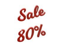 Продажа 80 процентов уценивает каллиграфическую представленную 3D иллюстрацию текста красного цвета Стоковые Фото