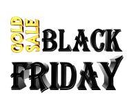 Продажа пятницы черноты золота текста золота на белой предпосылке Стоковая Фотография