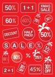 Продажа рождества и ярлыки и бирки скидки Стоковые Фото