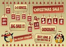 Продажа рождества маркирует и ярлыки Стоковое Фото