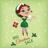 Продажа рождества с милым эльфом иллюстрация вектора