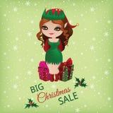 Продажа рождества с милым эльфом иллюстрация штока