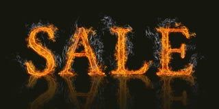 Продажа слова с пламенеющим влиянием огня Стоковые Изображения