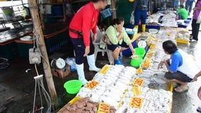 Продажа тайских людей и морепродукты покупки на моле Ang Sila удят местный рынок видеоматериал
