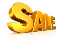 продажа текста золота 3D Стоковая Фотография