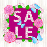 Продажа - текст с красочными цветками Стоковые Фото