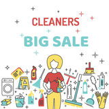 Продажа уборщиков большая с значками бесплатная иллюстрация