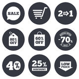 Продажа уценивает значок Ходящ по магазинам, знаки дела Стоковое Фото