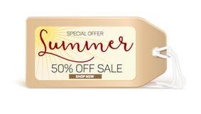 Продажи знамени рекламы с оформлением Продажа лета скидка 50 процентов, покупает теперь Стоковое Изображение